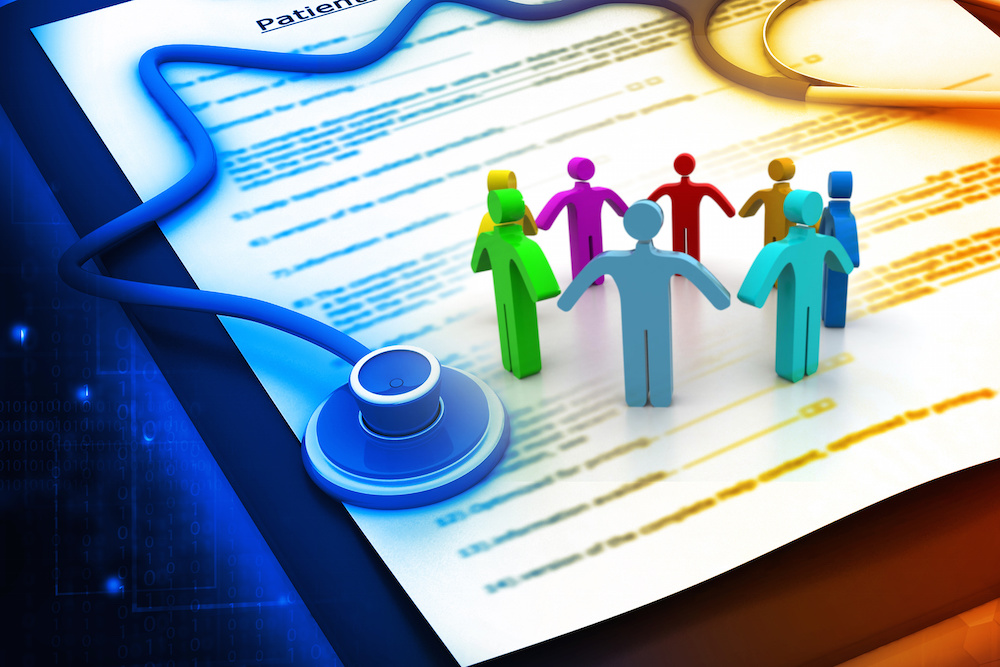 Graphic of a multi-colored stethoscope over a Patient form. Graphic of eight individuals of different colors joining hands.
