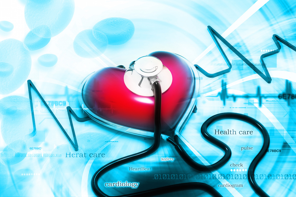 Graphic of a stethoscope in the shape of a heart on top of a blue background.