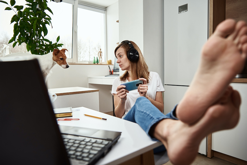 employee listening to music working