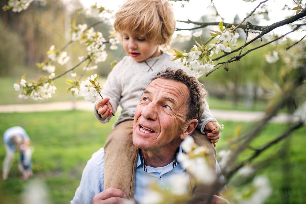 senior grandfather with grandson